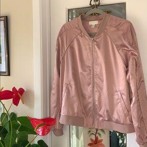 Blush pink Forever21 plus-size satin bomber jacket